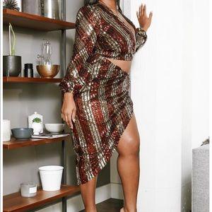 Sequin Crop Top & Asymmetric Skirt Set